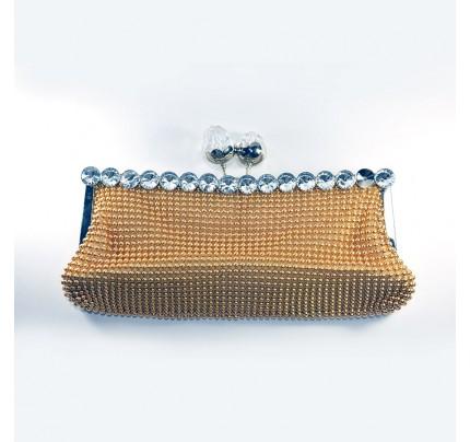 Shining Diamond Evening Clutch Bag - Gold