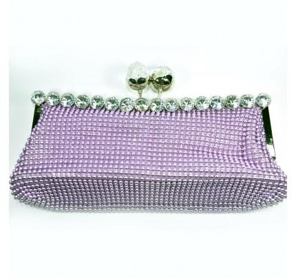 Shining Diamond Evening Clutch Bag - Magenta