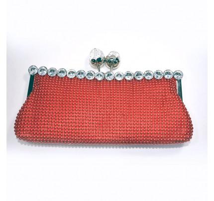 Shining Diamond Evening Clutch Bag - Red