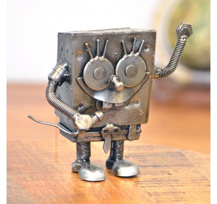 Spongebob Recycled Scrap Metal Sculpture Handmade Statue