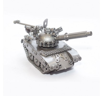 Military Tank (Gray) Model - Scrap Metal Sculpture