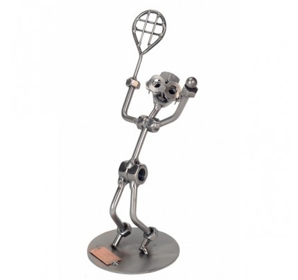 Recycled metal art Tennis Serve Male Sculpture