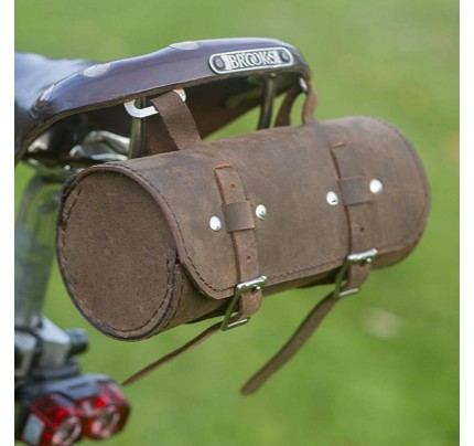 Genuine Leather Schwinn Bicycle Round Saddle Bag Utility Tool Bag - Vinatge Brown