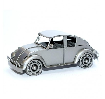Volkswagen Car Metal Art Sculpture - 24cm, Gray (VSW01)