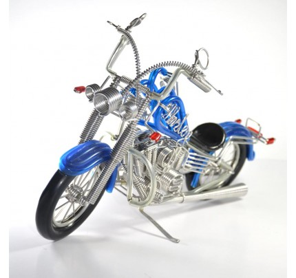 Harley-Davidson, Handmade Aluminium Wire Art Sculpture Motorcycle (Blue, Small)