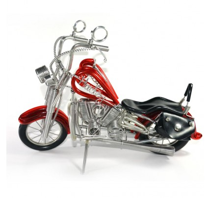 Handmade Harley-Davidson, Aluminium Wire Art Sculpture Motorcycle (Red)