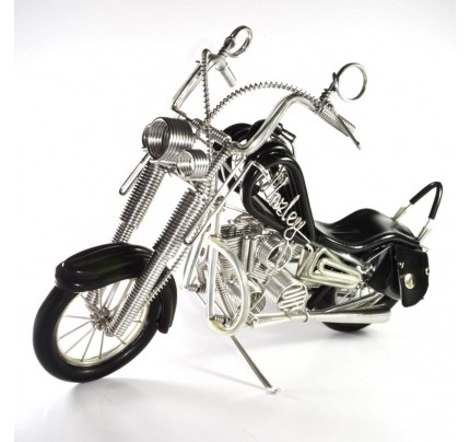 Wire Art Motorcycle : Harley-Davidson, Handmade Aluminium Wire Art Sculpture (Black)