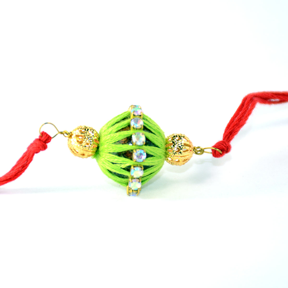Airplane Home Decor Handmade Rakhi Dolki Beads In Green And Red Color